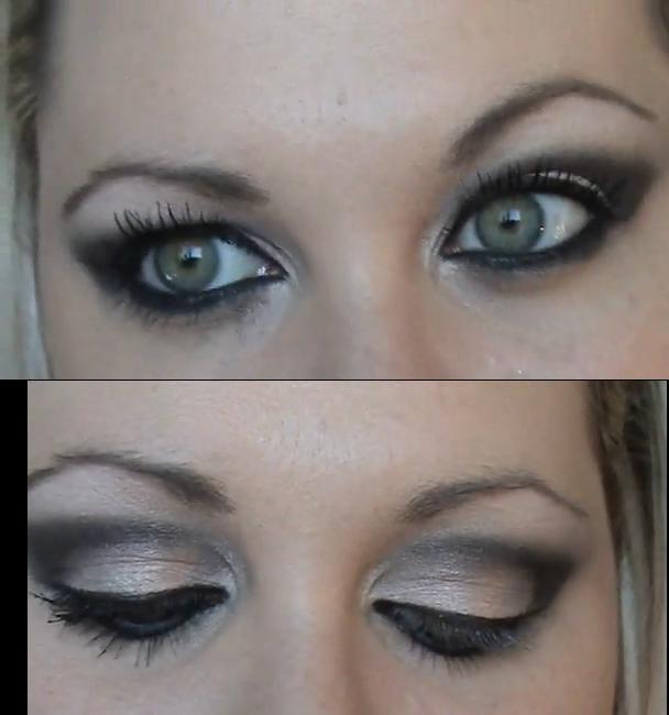 Maquillaje ojos vestido blanco y negro